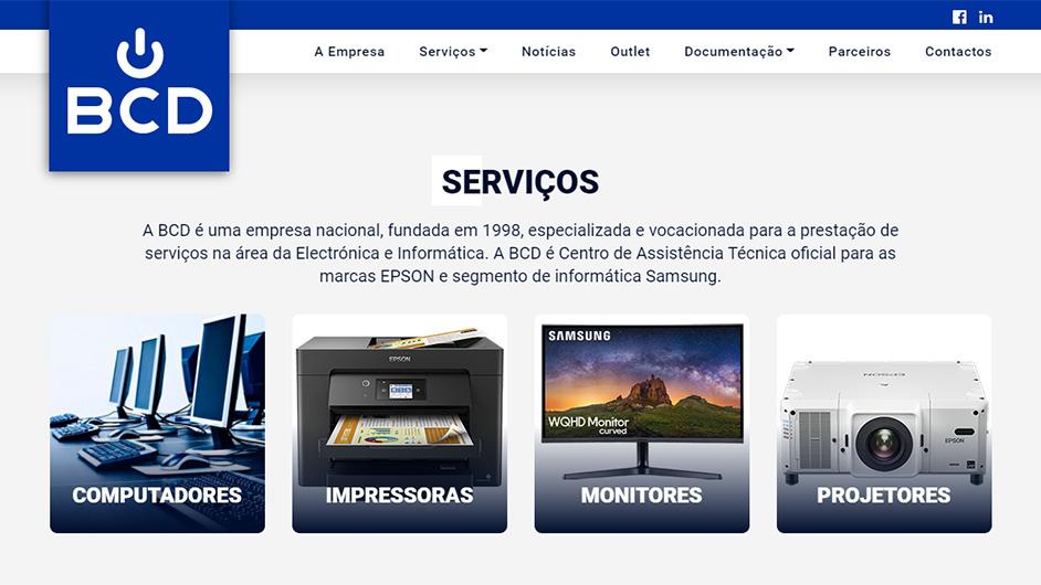 Website BCD – Manutenção de Equipamento Eletrónico e Informático, Lda.